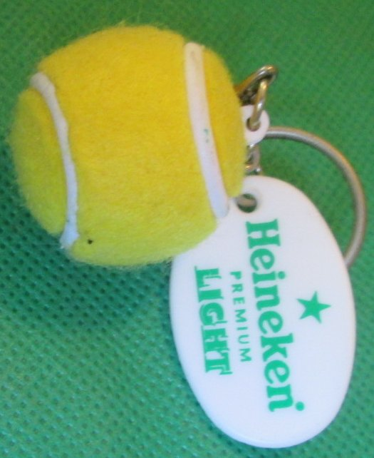 HEINEKEN LIGHT Beer yellow Tennis Ball keyring key chain 1.25""