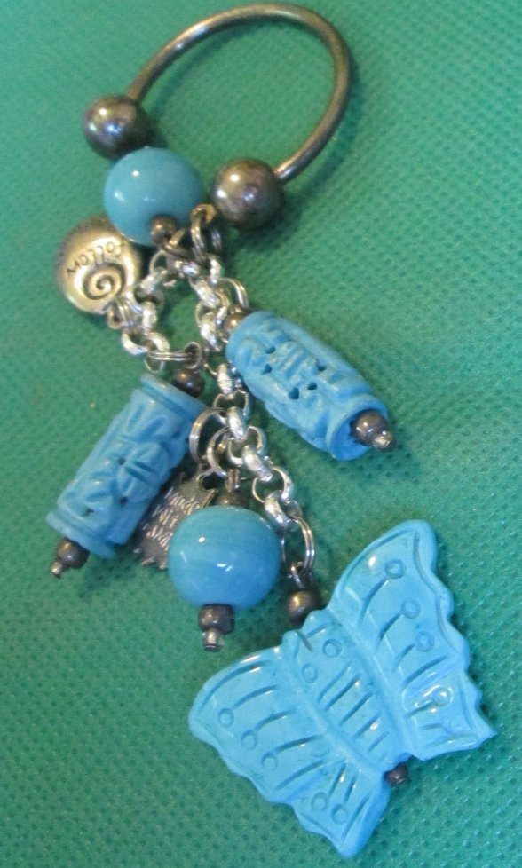 BUTTERFLY and other charms dangling keyring key chain 3""
