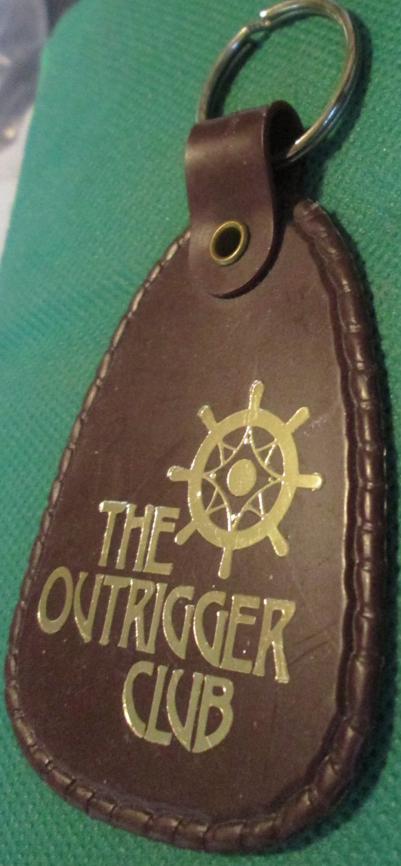 THE OUTRIGGER CLUB Miami FL logo plastic keyring key chain 3.5""