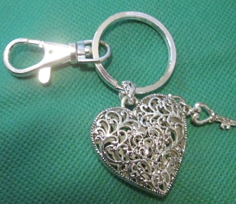 HEART with tiny key keyring key chain clip-on 1.5""