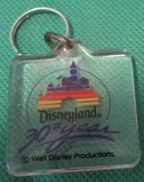 "Vintage DISNEYLAND 30TH YEAR plastic keyring key chain 1.75"" - Click Image to Close"