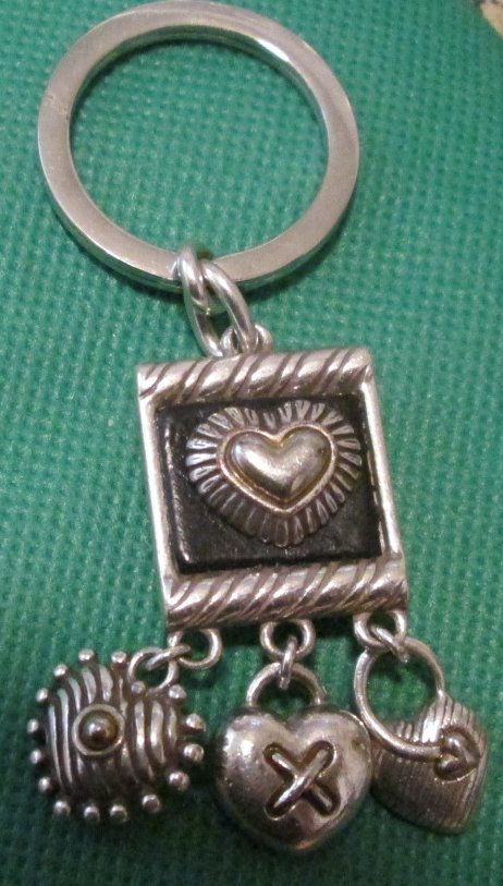 Heart with 3 charms metal keyring key chain 2""