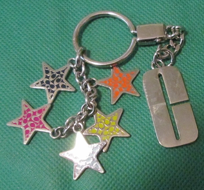 "COACH metal star charms dangling keyring key chain 3"" - Click Image to Close"