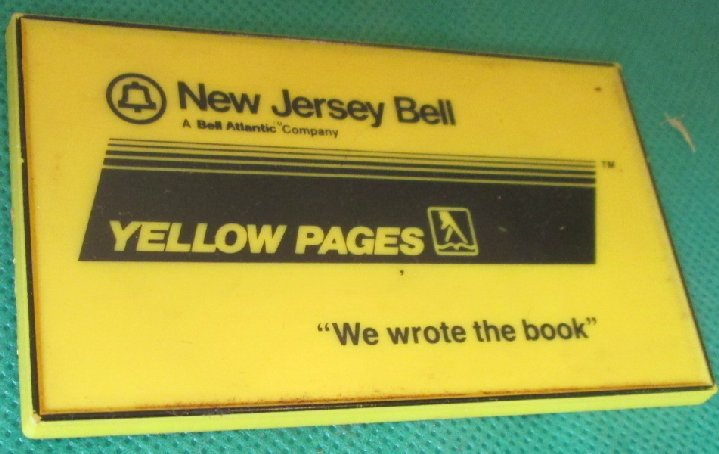 Vintage New Jersey Bell YELLOW PAGES refrigerator frig MAGNET
