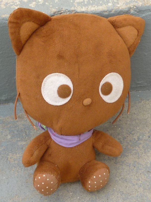 "Plush brown CHOCOCAT cat stuffed animal 9"", 2009 SANRIO"