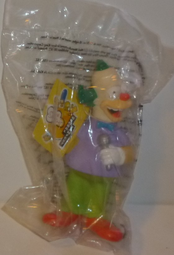 "SIMPSONS Krusty Clown figure toy 5.25"", Burger King MIP"