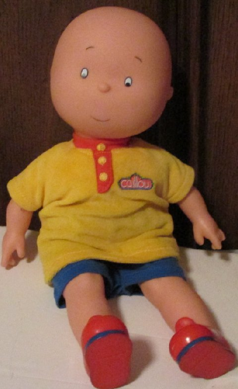 "CAILLOU Plush cloth vinyl doll dressed 14"", FAMOSA"