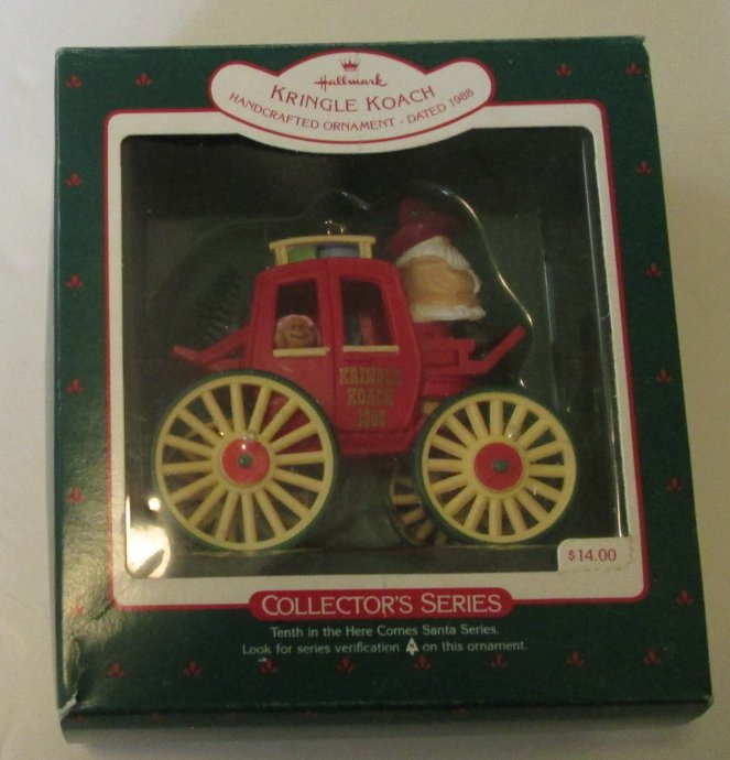 Vintage 1988 Hallmark Ornament KRINGLE KOACH 10 Here Comes Santa