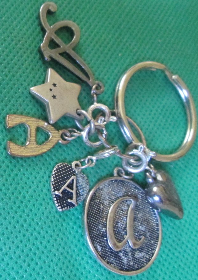 Letter A metal charms keyring key chain