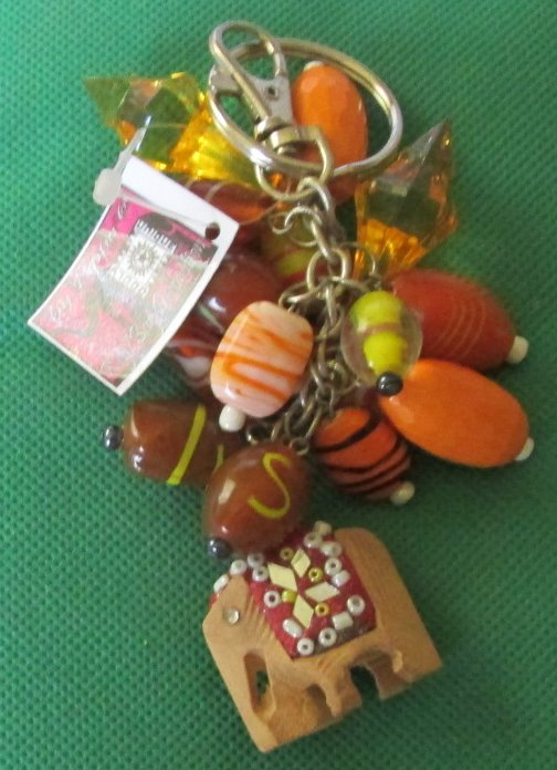 Pippa dangling beads & elephant charm keyring key chain clip-on