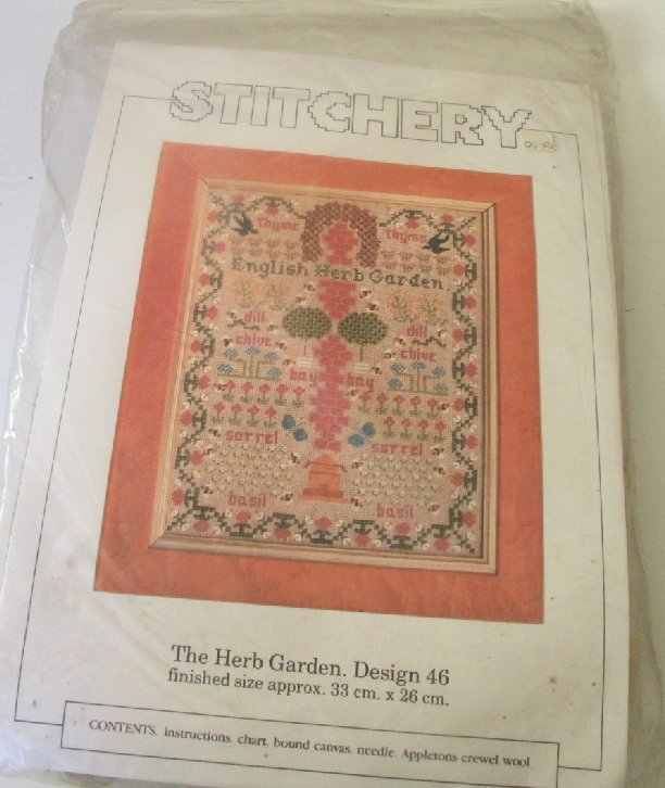 Stitchery THE English HERB GARDEN Design 46 Kit MIP