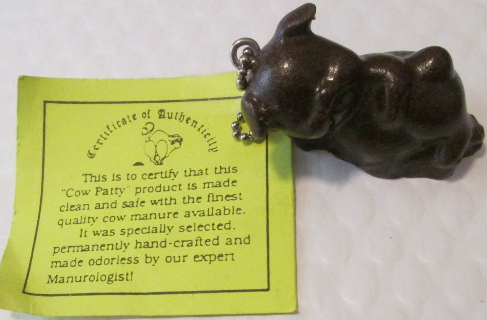 BS PET Pig figure made of COW PATTY keyring key chain 2.5""