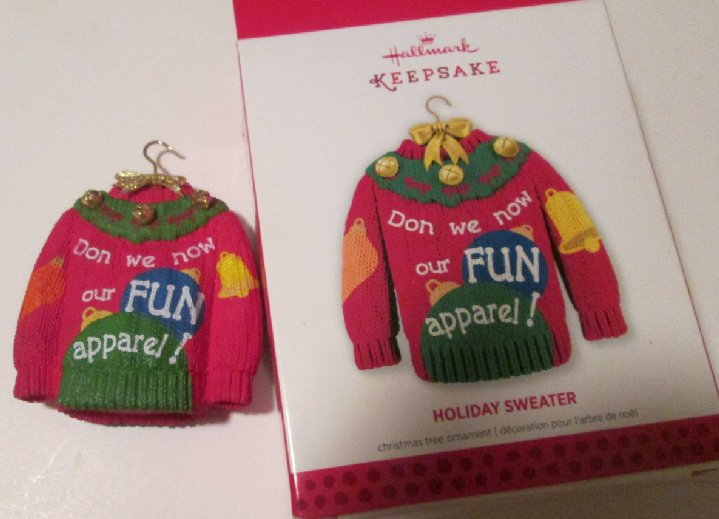 2013 Hallmark Ornament HOLIDAY Ugly SWEATER, in box