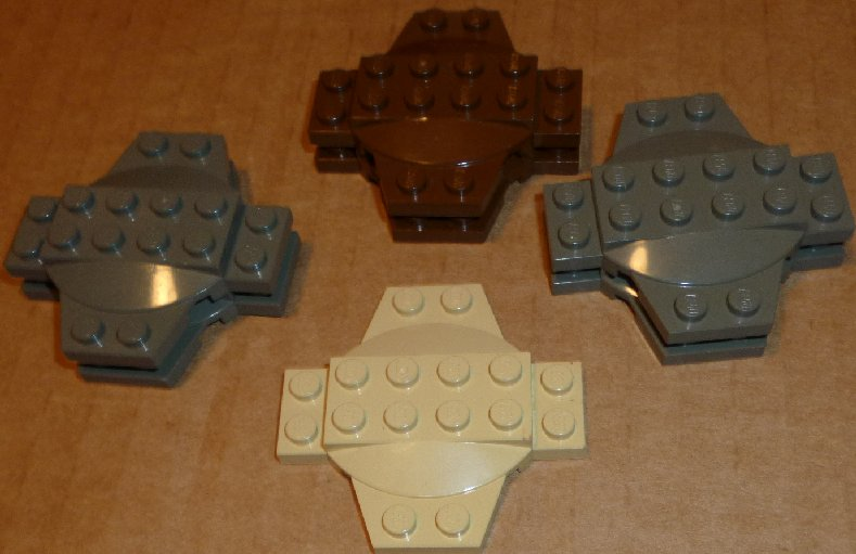 LEGO Parts lot of 7 Plate 6 x 6 x 2/3 Cross with Dome