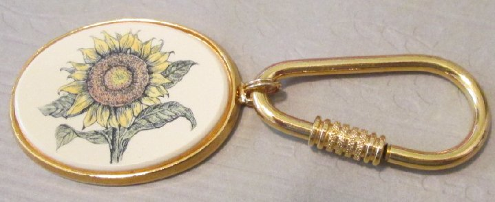 HARLOW sunflower flower metal keyring key chain 1.75""