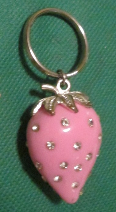 Pink STRAWBERRY with rhinestones keyring key chain 1.75""
