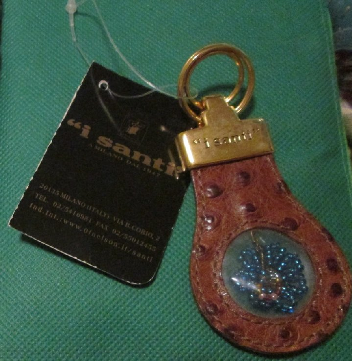 "I SANTI leather double keyring key chain 3.5"", with tag"