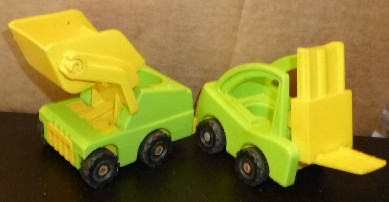 Vintage FISHER PRICE Little People lot 2 trucks dump & forklift