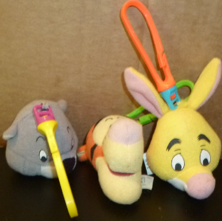 Lot of 3 POOH clip-on plush head TIGGER RABBIT & BEAVER, MCD