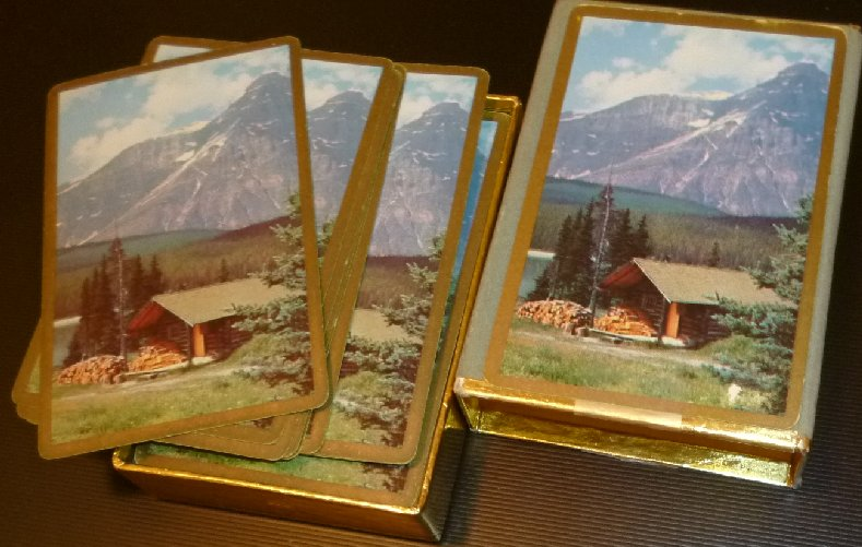 Vintage Congress 1 deck MOUNTAIN scene playing cards in box,