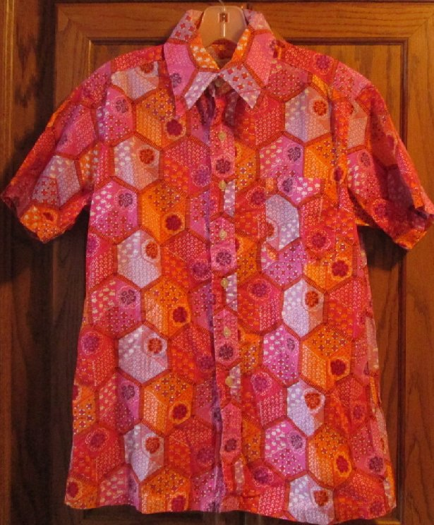 Vintage 70s COUNTESS MARA colorful abstract DISCO ss Shirt