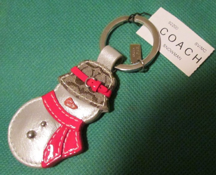 COACH leather SNOWMAN 92200 keyring key chain 3""