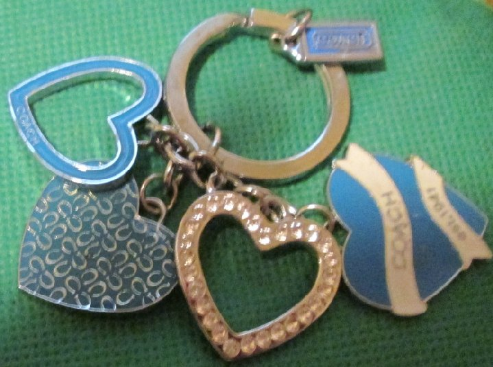 COACH Metal heart charms dangling keyring key chain 3""