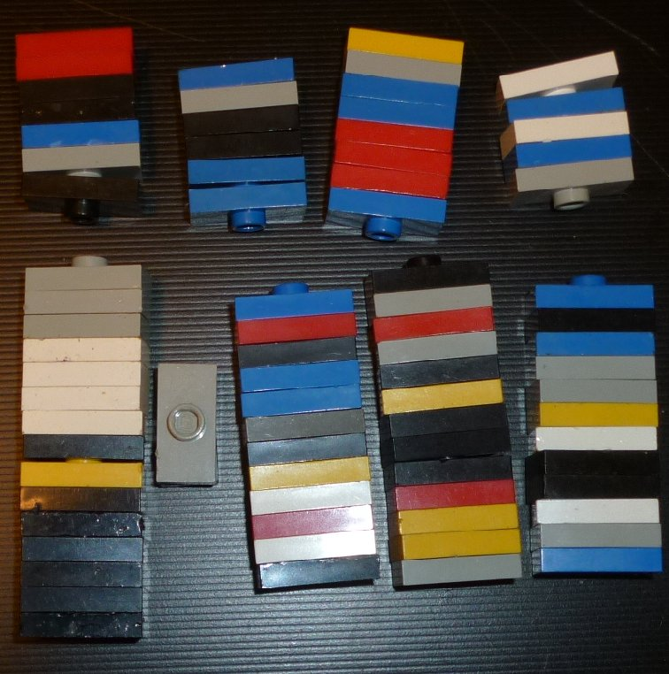 LEGO Parts lot of 79 Plate 1 x 2 with 1 stud, mixed colors