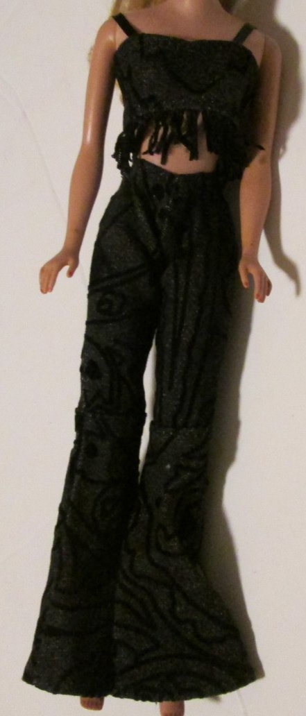 BARBIE doll Clothing Fashion black top w/fringe & pants