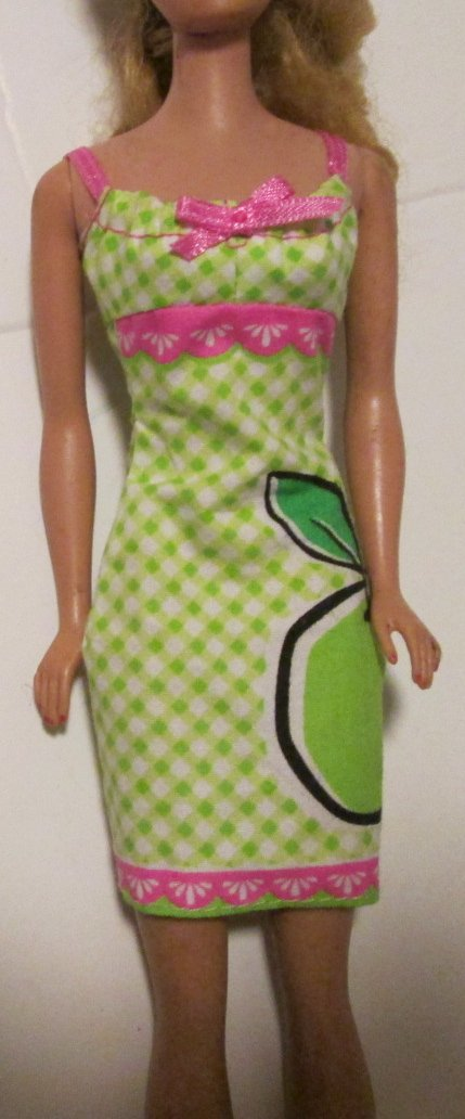 BARBIE doll Clothing Fashion green apple print Dress