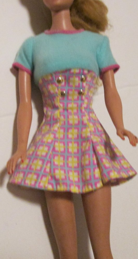 BARBIE doll Clothing Fashion blue top print short sleeve DRESS