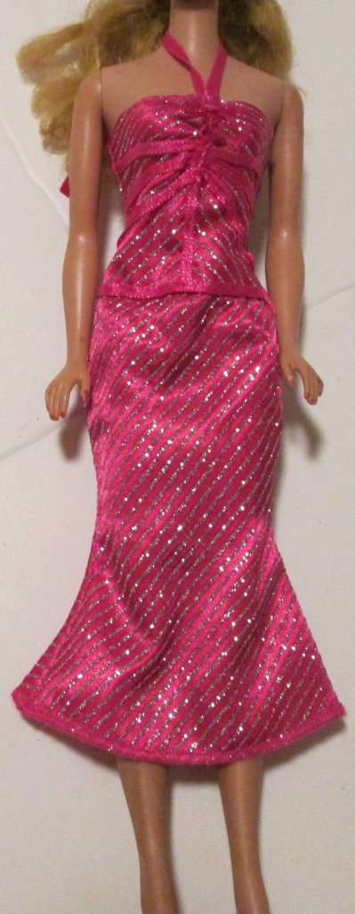 BARBIE doll Clothing Fashion pink glitter stripe halter DRESS