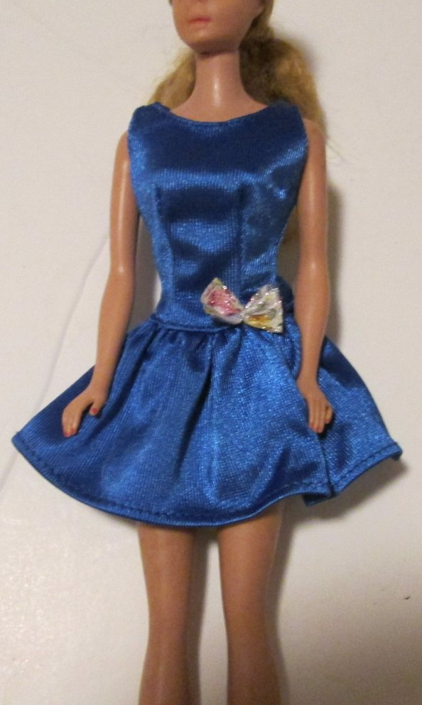 BARBIE doll Clothing Fashion blue DRESS bow at waist, pink B tag
