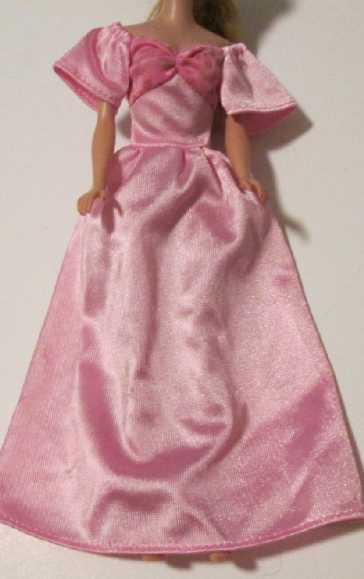 BARBIE doll Clothing Fashion short sleeve pink gown DRESS