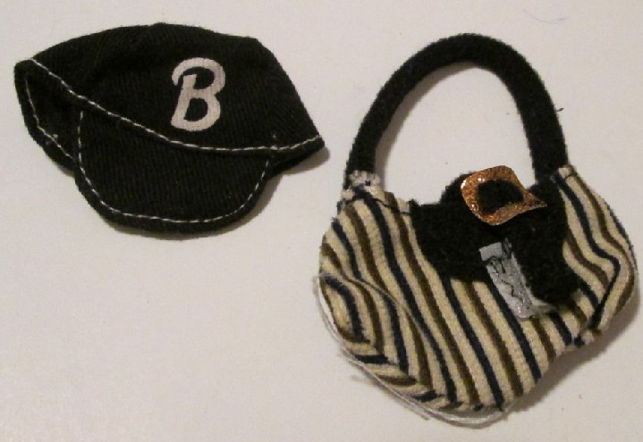 BARBIE doll Clothing Fashion black hat & b&w stripe handbag