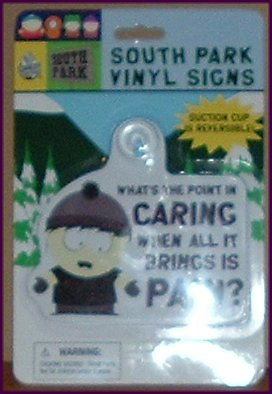 "SOUTH PARK Vinyl Sign w/suction cup 5"" MOC"