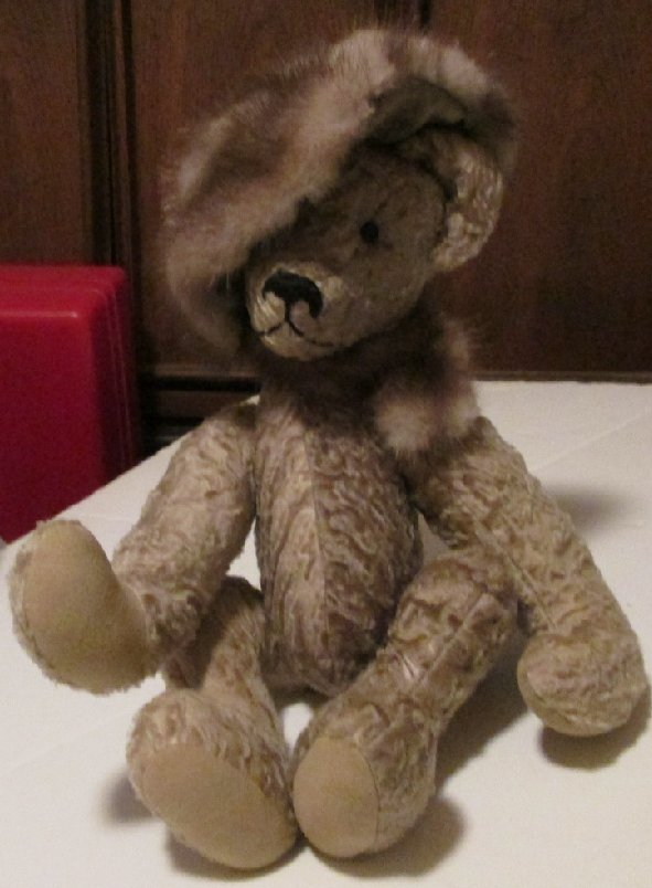 Artist OOAK jointed Plush Teddy BEAR with fur mink? hat & scarf