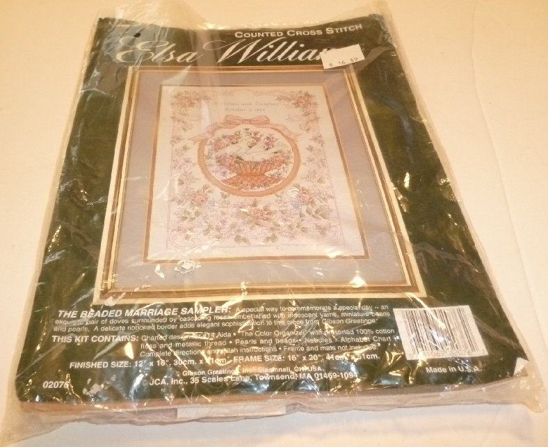 ELSA WILLIAMS Cross Stitch THE BEADED MARRIAGE SAMPLER Kit