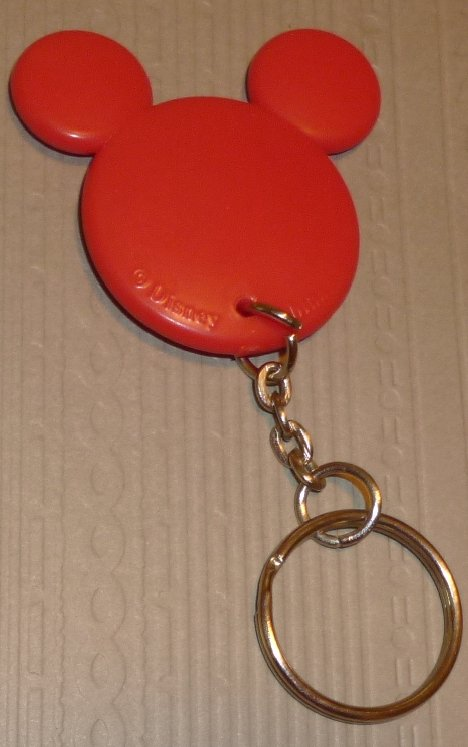 "MICKEY MOUSE red PVC shape head keyring key chain 2"", Disney"