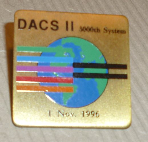 DACS II 3000th System Nov 1, 1996 lapel Pin 1""