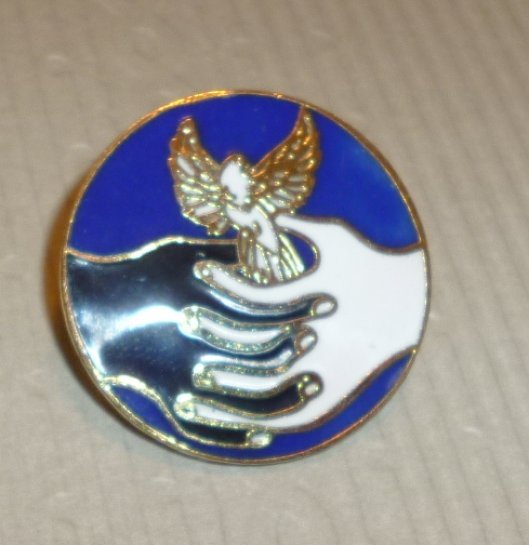 ANGEL IN HANDS round lapel Pin 1""