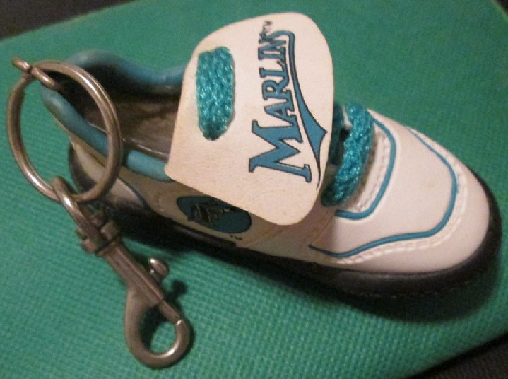 FL MARLINS baseball cleat shoe keyring key chain clip-on 4""