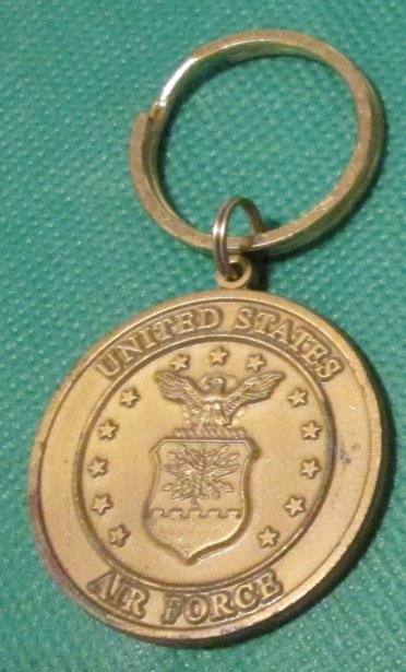 USAA Military US AIR FORCE metal medallion keyring key chain