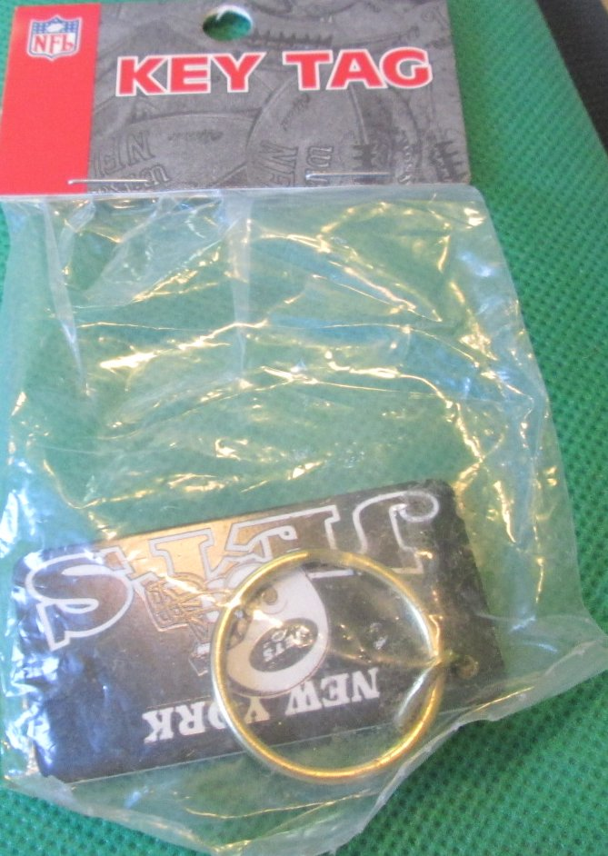 "NFL New York JETS keyring key chain 2.25"", Mint in Package"
