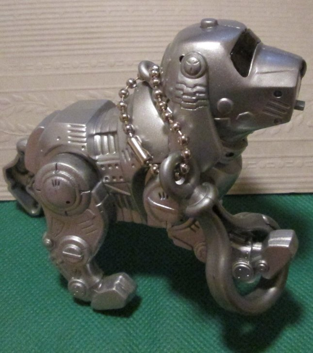 "Siver electronic talking DOG keyring key chain clip-on 4"" long"