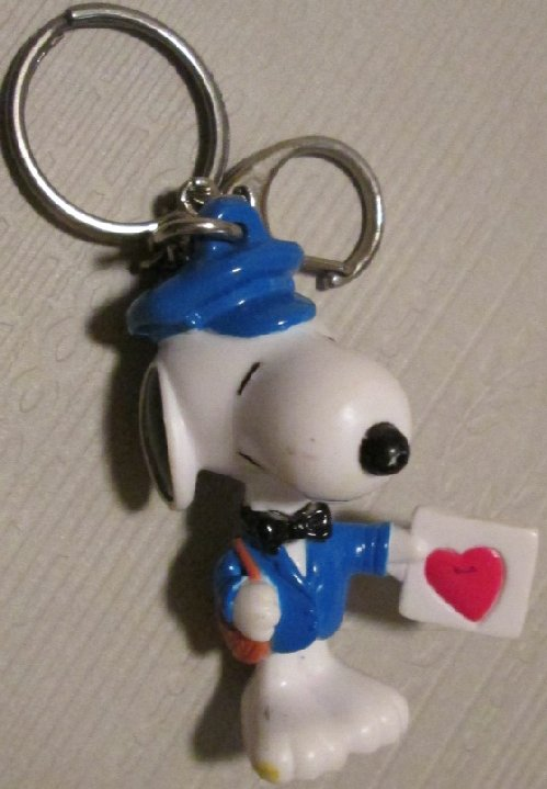 Peanuts SNOOPY PVC figure mailman keyring key chain clip-on