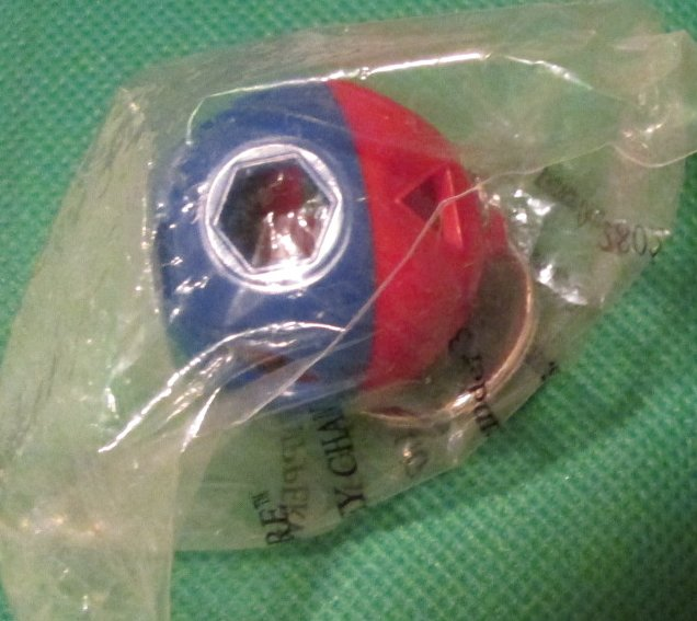 TUPPERWARE Shape-O-Ball Red blue shaker keyring key chain MIP
