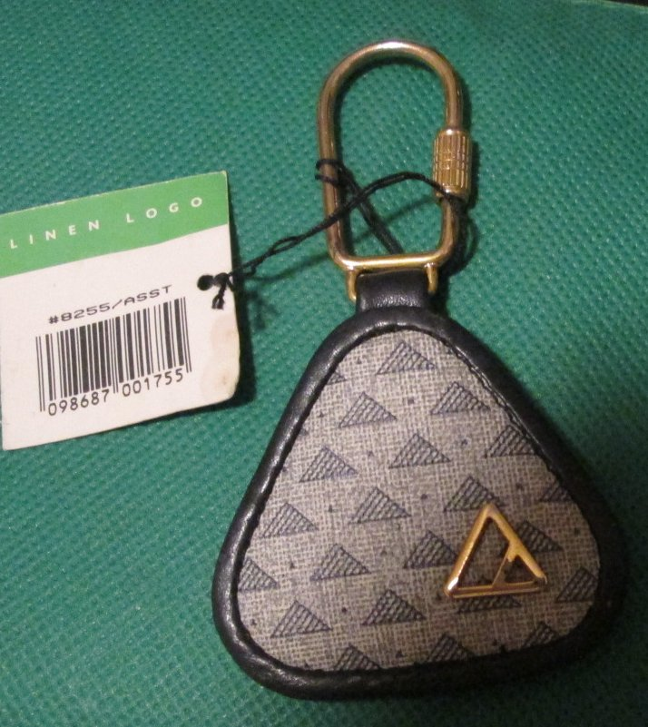 "LIZ CLAYBORNE linen logo keyring key chain 2.5"", with tag"