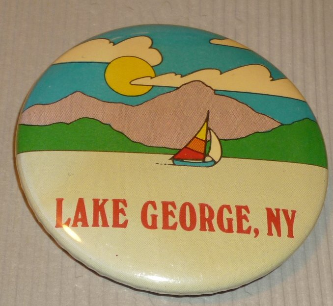 LAKE GEORGE NY sailboat round button Pin 2.25""