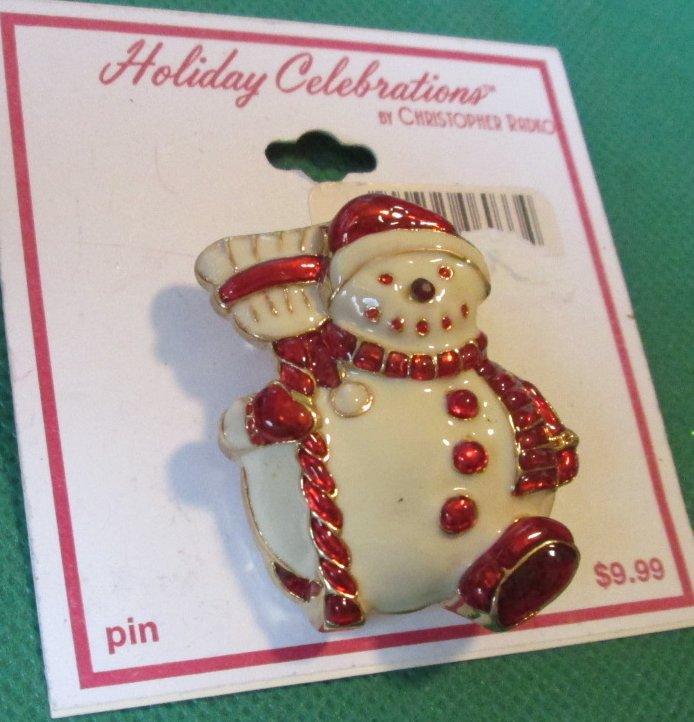 "CHRISTOPHER RADKO Christmas SNOWMAN pin brooch 1.75"", on card"